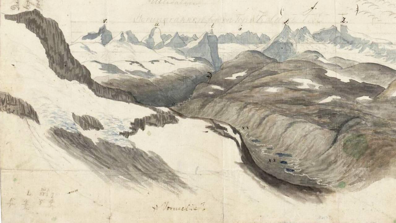Tegning av Baltazar Mathias Keilhau som viser Jotunheimen i 1820.