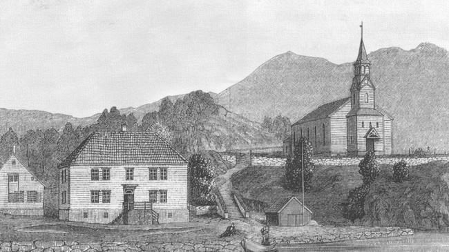 Teikning av Gulen kyrkje og Herresalen på1800-talet.