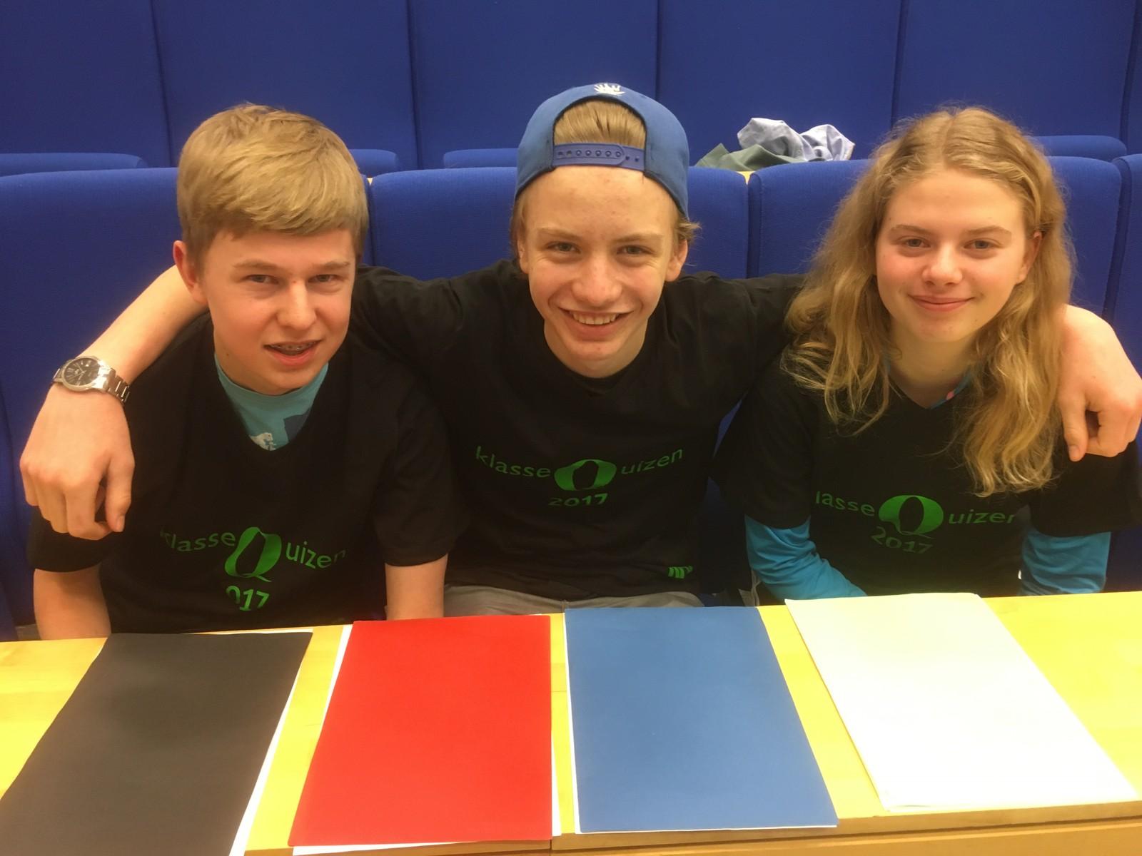 Sigurd Hersleth, Gaute Brendbekken og Thea Torgerhagen fra Ajer ungdomsskole klarte full pott, 12 poeng.