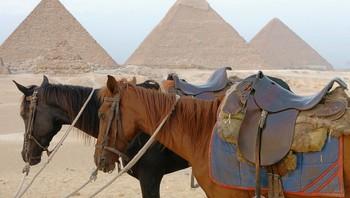 Ingen turistar ved pyramidane i Egypt.