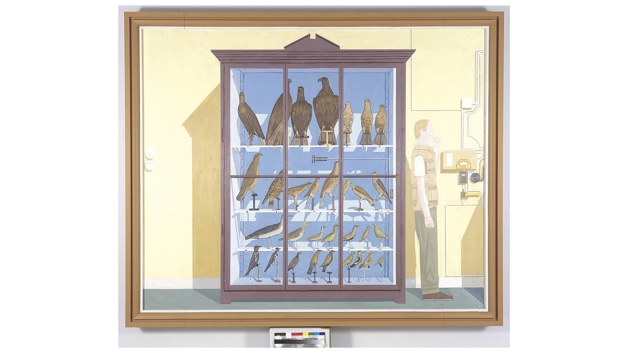 Leonard Rickhard, Stort fugleskap mot gul vegg, 2005–07. Christian Bjellands samling.