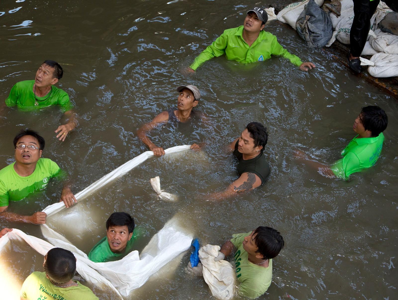 Disse arbeiderne forsøker å forsegle rester av en bombe som ble kasta i en kanal i Bangkok denne uka.