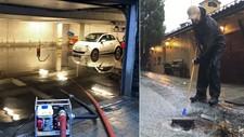 OVERSVØMT: Flere garasjer i Bergen er oversvømt onsdag morgen. Styrtregnet gjorde skader flere steder i Hordaland.