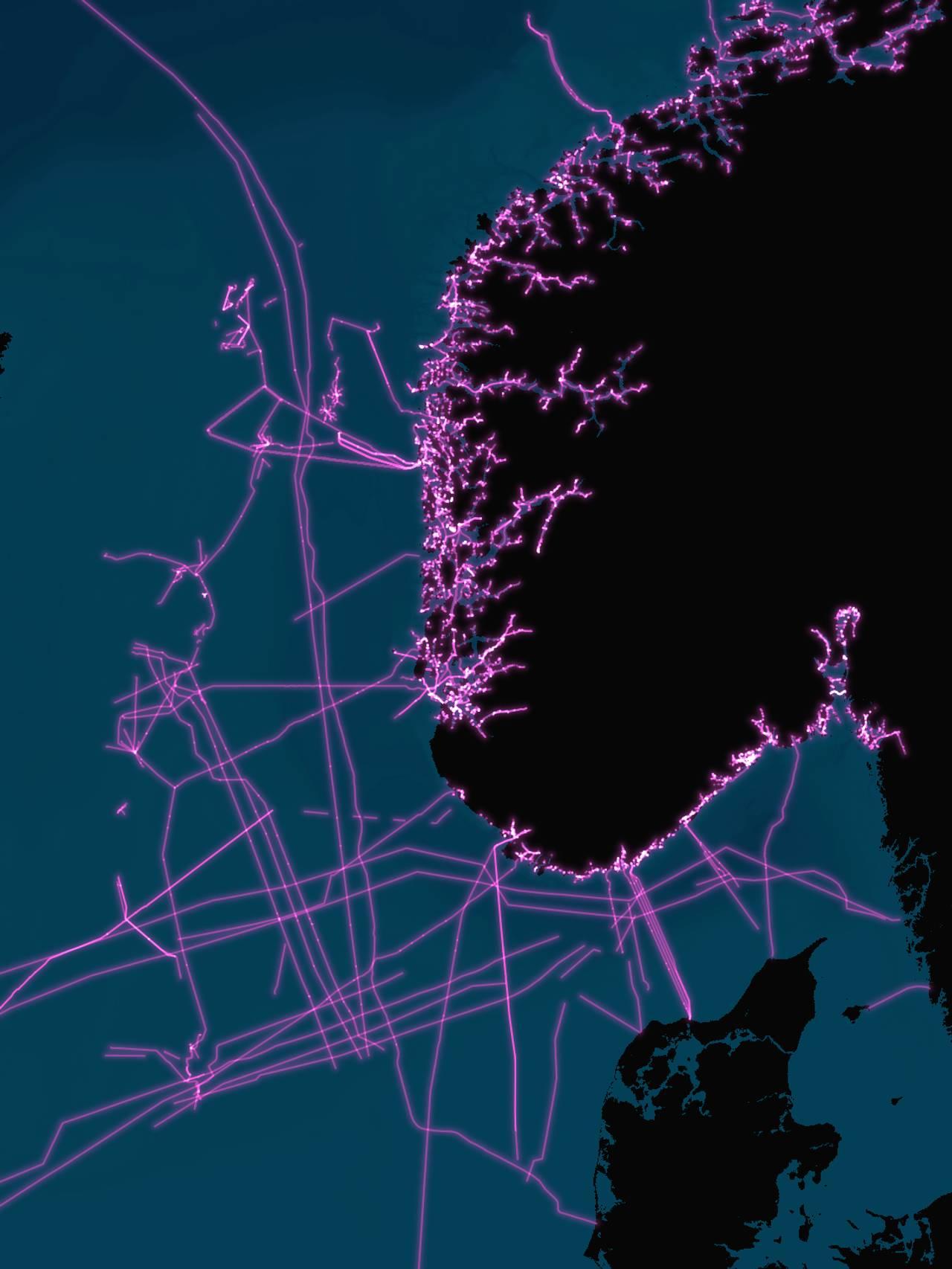 Kartet viser sjøkabler i Nordsjøen