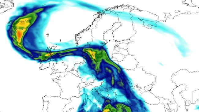 Denne prognosen fra NASA viser hvordan støvet har kommet inn over Norge i dag.