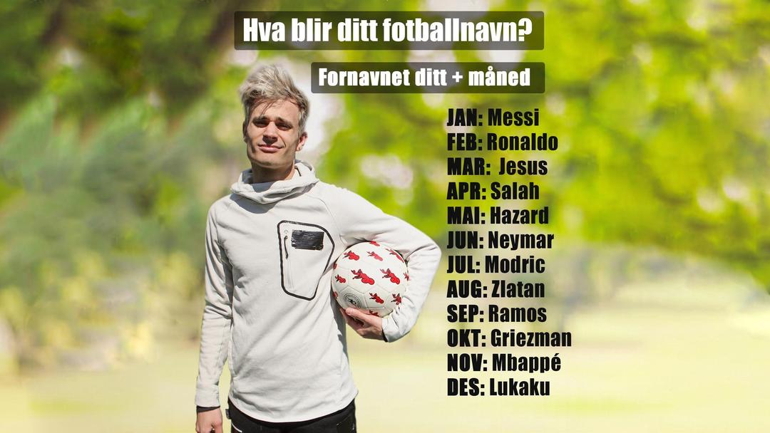 Victor fra FlippKlipp står med en fotball i venstre arm, teksten i bildet viser månedene i året og 12 etternavn på store fotballspillere. Sett sammen ditt fornavn og etternavnet i din fødselsmåned for å få ditt fotballnavn.