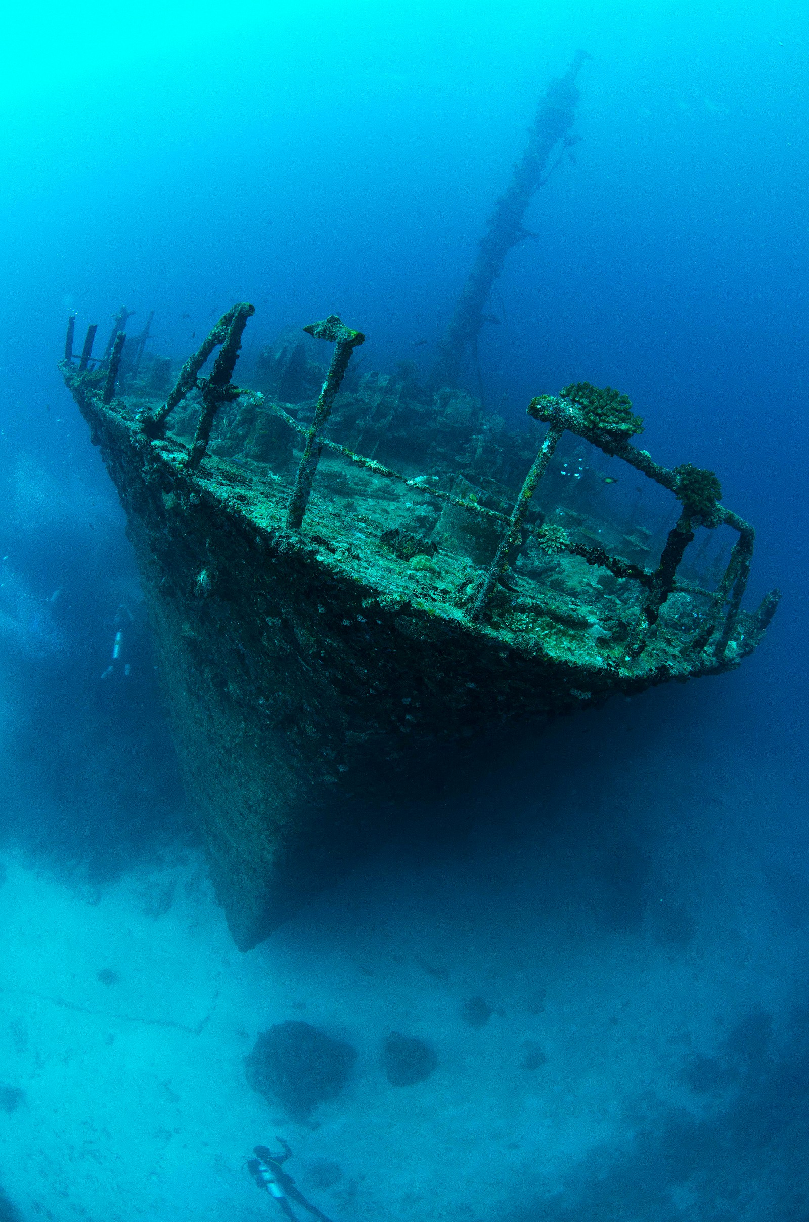 Et japansk krigsvrak i Det indiske hav ved Maldivene. Det ble senket under andre verdenskrig.
