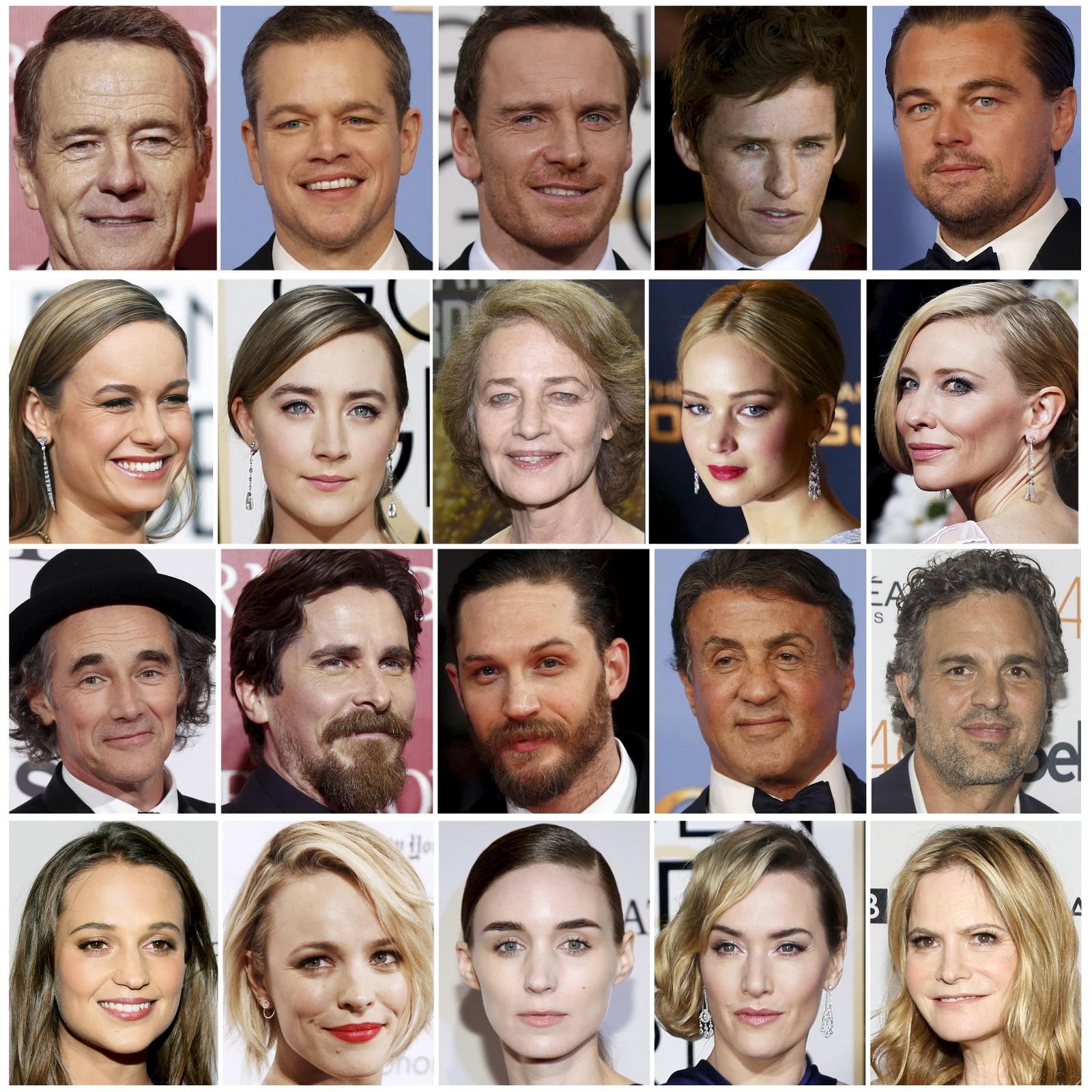 Det ble oppstyr da det for andre året på rad bare var hvite skuespillere som ble nominert til Oscar. Flere prominente gjester truet sågar med å boikotte utdelingen. På bildet ser vi de nominerte: Bryan Cranston, Matt Damon, Michael Fassbender, Eddie Redmayne, og Leonardo DiCaprio (rad 1), Brie Larson, Saoirse Ronan, Charlotte Rampling, Jennifer Lawrence og Cate Blanchett (rad 2), Mark Rylance, Christian Bale, Tom Hardy, Sylvester Stallone og Mark Ruffalo (rad 3), Alicia Vikander, Rachel McAdams, Rooney Mara, Kate Winslet og Jennifer Jason Leigh (rad 4).