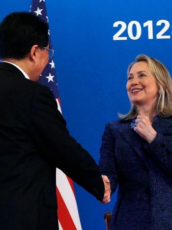 Hillary Clinton og Hu Jintao