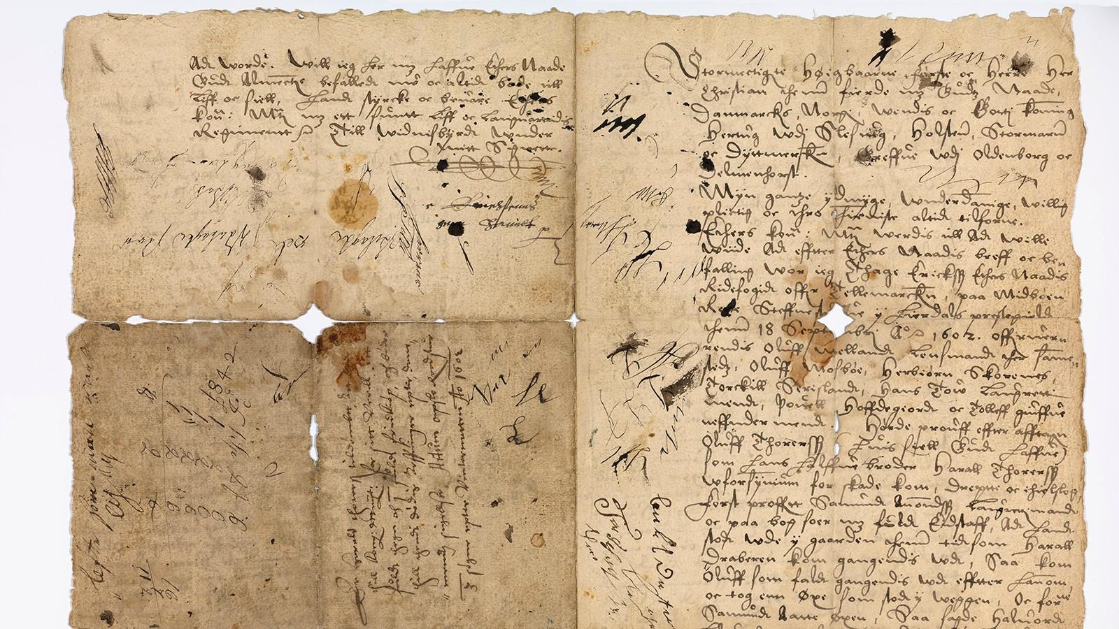 VITNESBYRD: I et brev sendt fra Hjartdal i Telemark i 1602, beskriver kongens mann i Norge, Thage Erikssen, hvordan Harall drepte halvbroren Oluff med kniv.