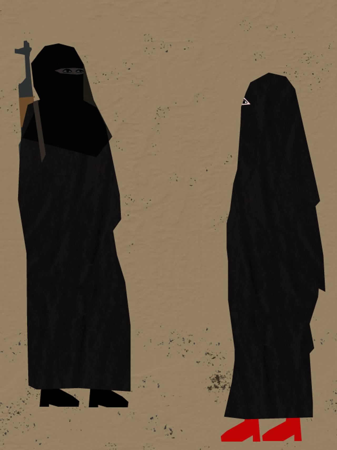 IS-kvinner på gata