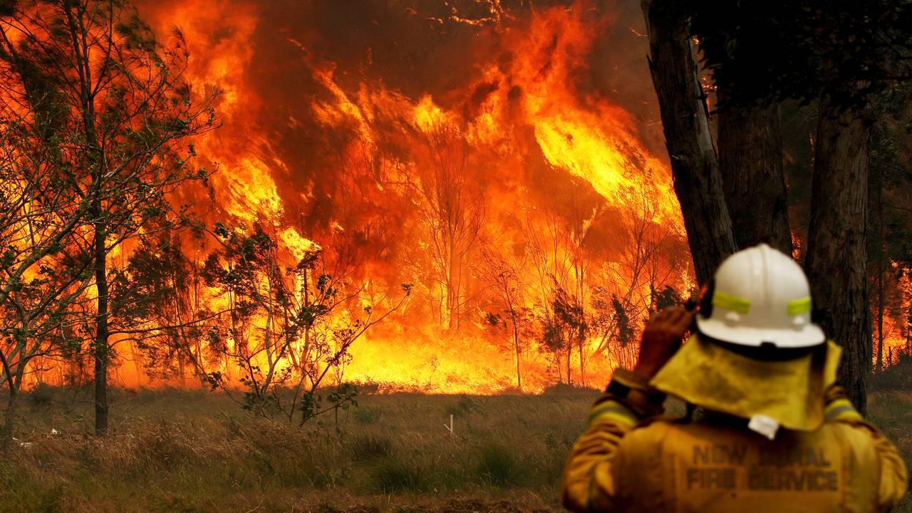 En brannmann kjemper mot flammene i Old Bar, New South Wales.
