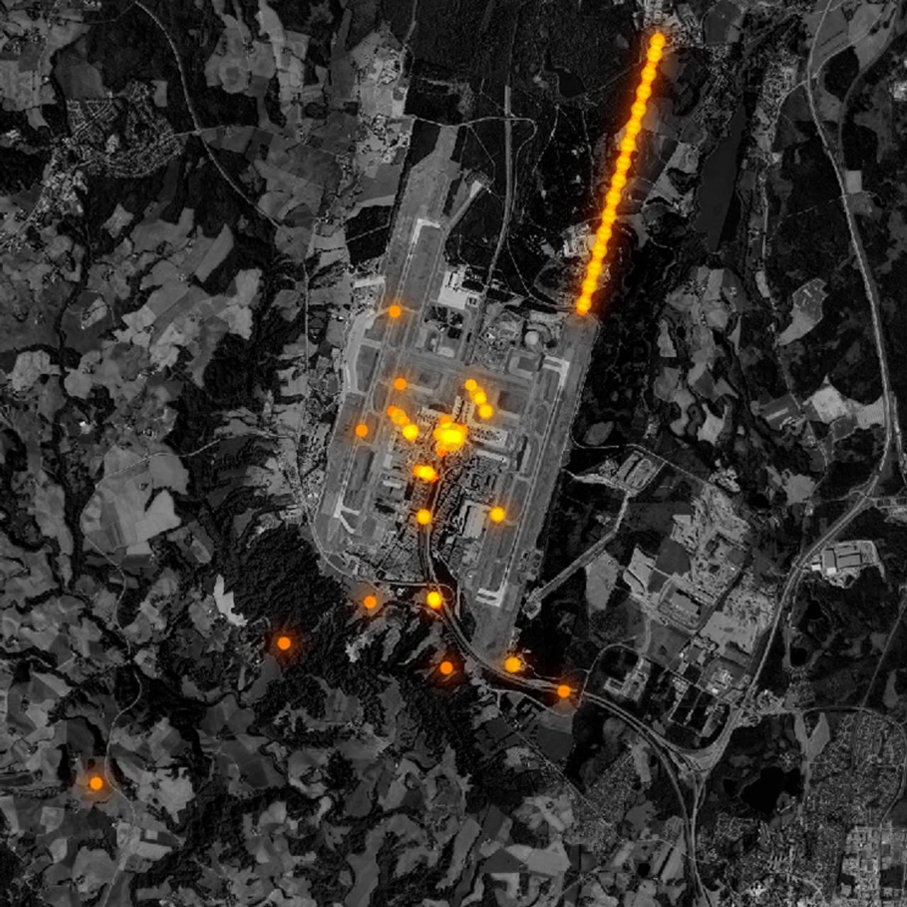 Flyfoto som viser mobilposisjoneringer i området rundt Gardermoen