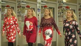 Lærer Christine Kongstein i 4 forskjellige julekjoler