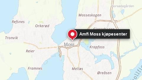 Kart fra Amfi Moss kjøpesenter