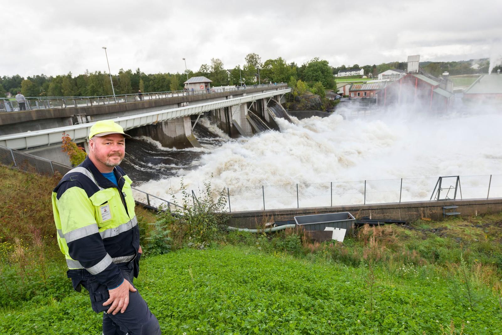 Store vannmengder ved Rygene kraftverk. Trygve Thaule fra Agder Energi.