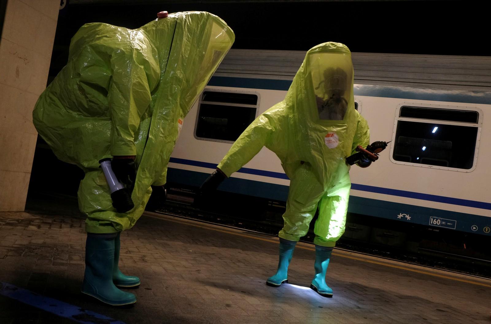 Anti-terror-øvelse på en t-bane i Venezia denne uka.