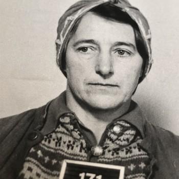 Halldis Neegård Østbye etter arrestasjonen.