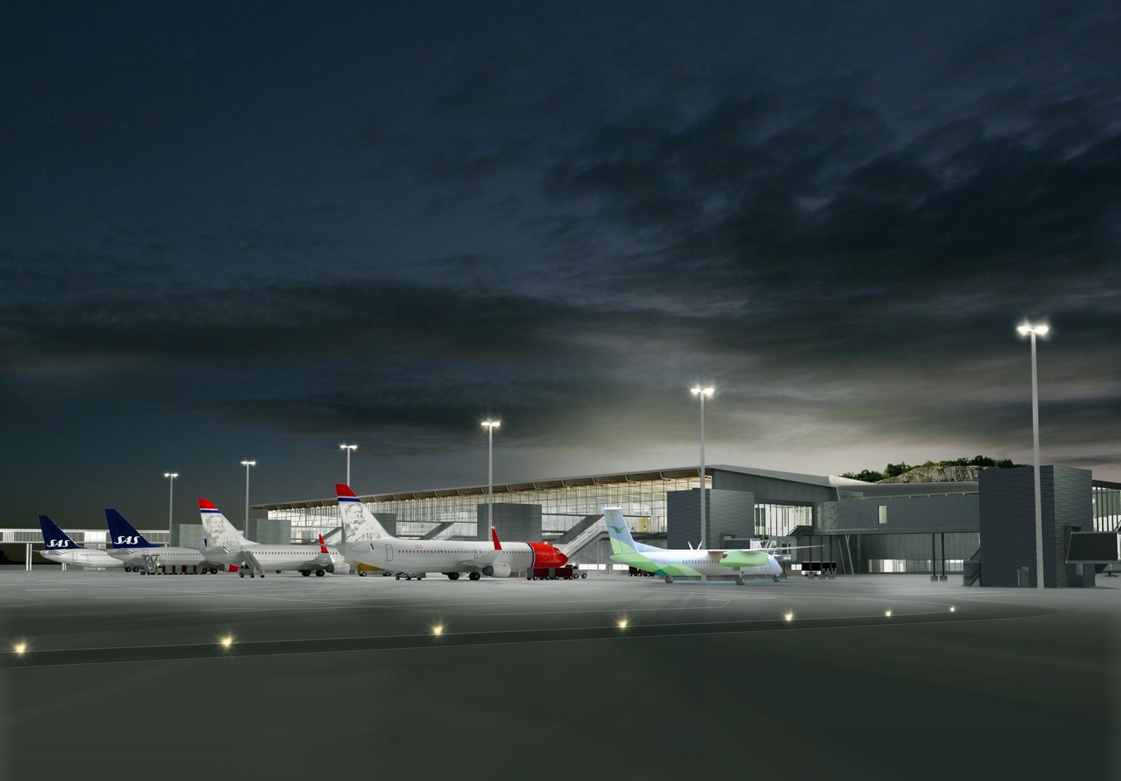 PÅ RAD OG REKKE: Det nye terminalbygget sett bakfra, med seks avgangsbroer. Illustrasjon: Nordic – Office of Architecture