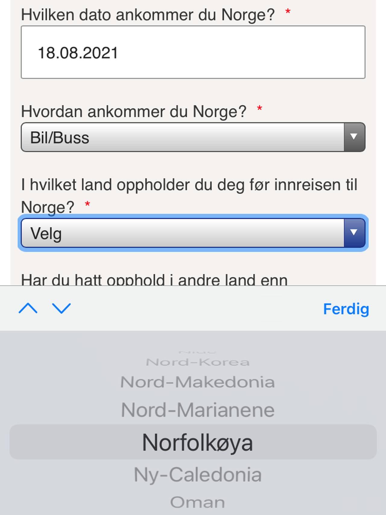 Innreiseskjema som ikke har Norge