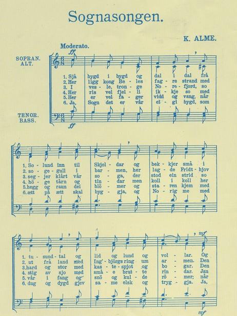"""Kristoffer Alme frå Hafslo skreiv og tonesette i mellomkrigstida """"Sognasongen"""", som har vorte mykje nytta ved songarstemne i Sogn. Dette er faksimile av dei seks første versa, attgjeve frå """"Jol i Sogn"""" 2008."""