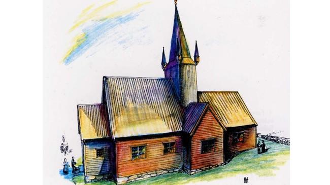 Krosskyrkja som vart avløyst av dagens kyrkje. Teikning: Oddvar Almenning.