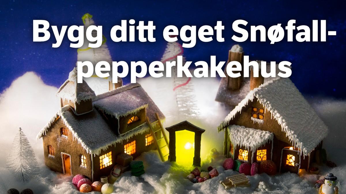 snøfall pepperkakehus