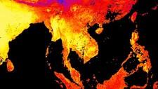 Sør- og Sørøst-Asia led under ekstrem varme i april 2016. På dette bilder fra Nasa viser gult der det var varmest.