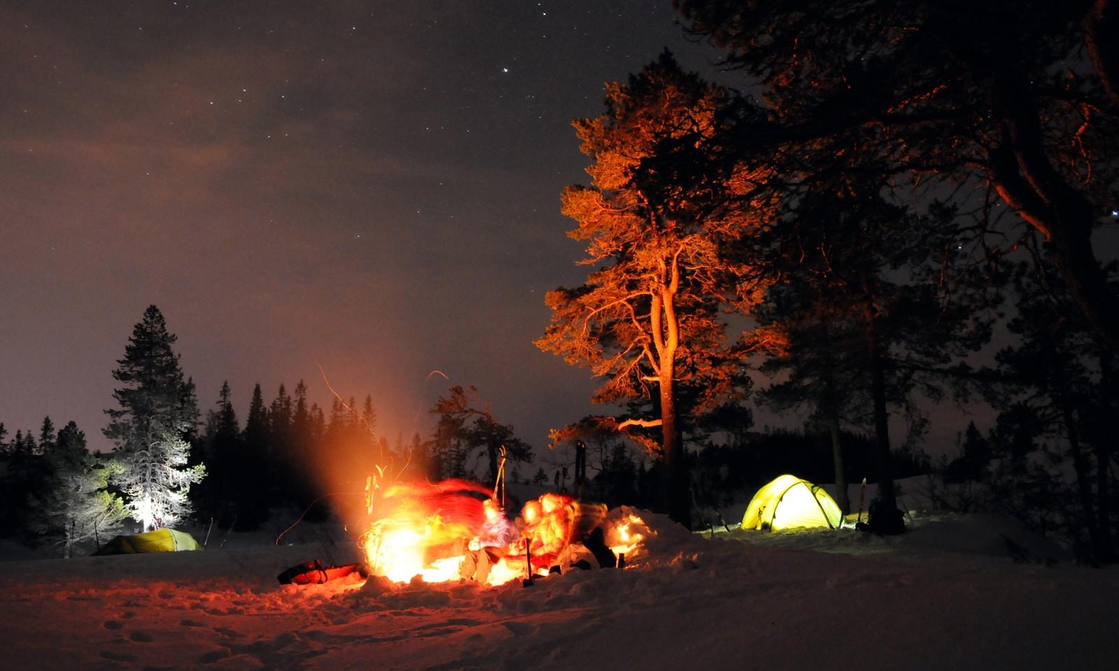 Vinternatt ved Kvistingen i Bymarka, Trondheim