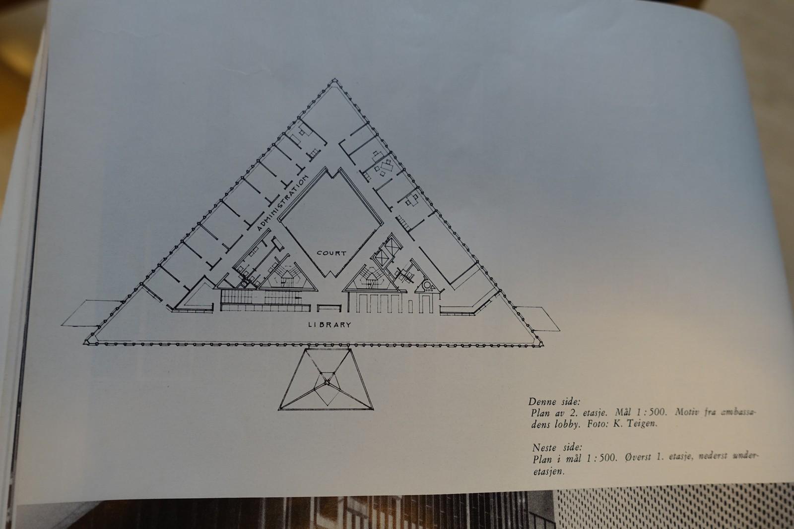 Originaltegningene av bygget viser hvordan en av de trekantede etasjene så ut.