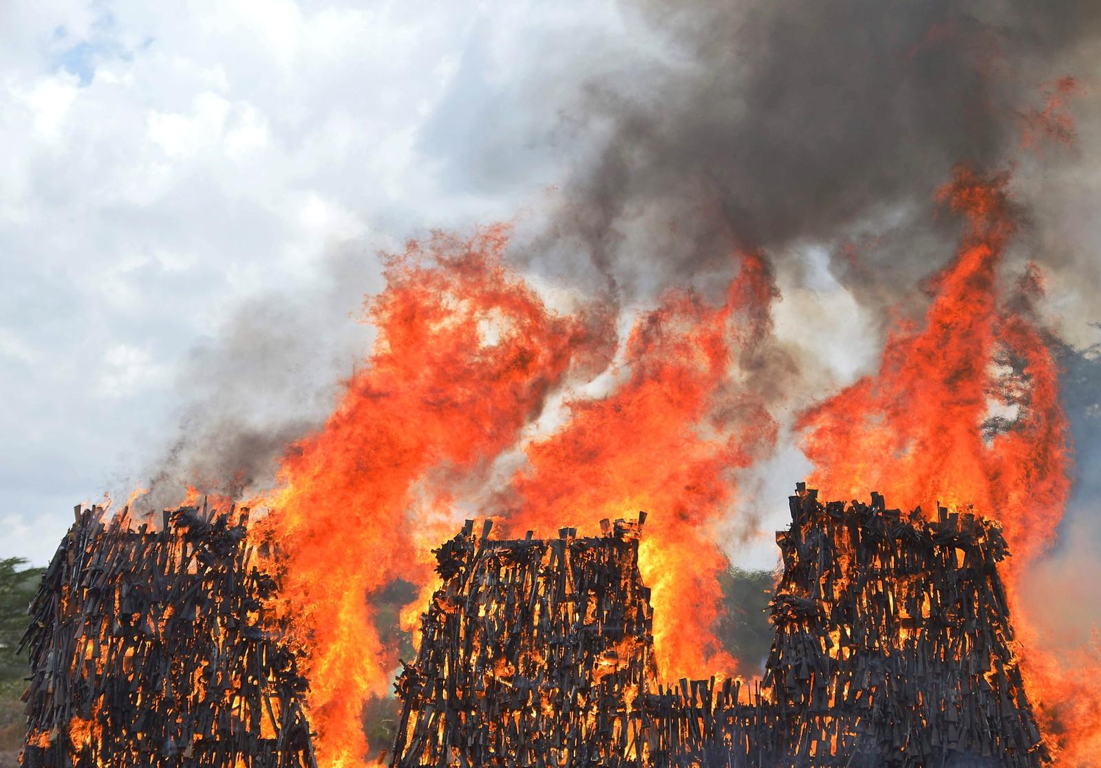 En haug med våpen går opp i røyk i Ngong i Kenya. Våpnene er ulovlige og har vært i kriminelles hender.