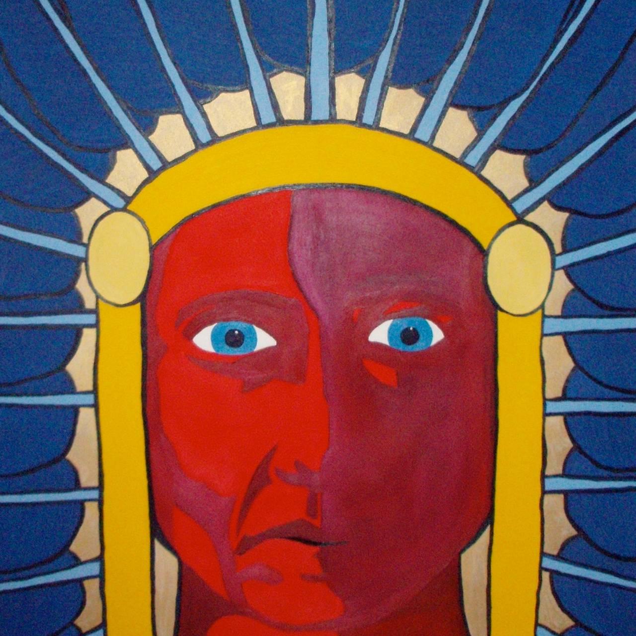 maleri av et tegneserieaktig indianerhøvdinghode i sterke farger