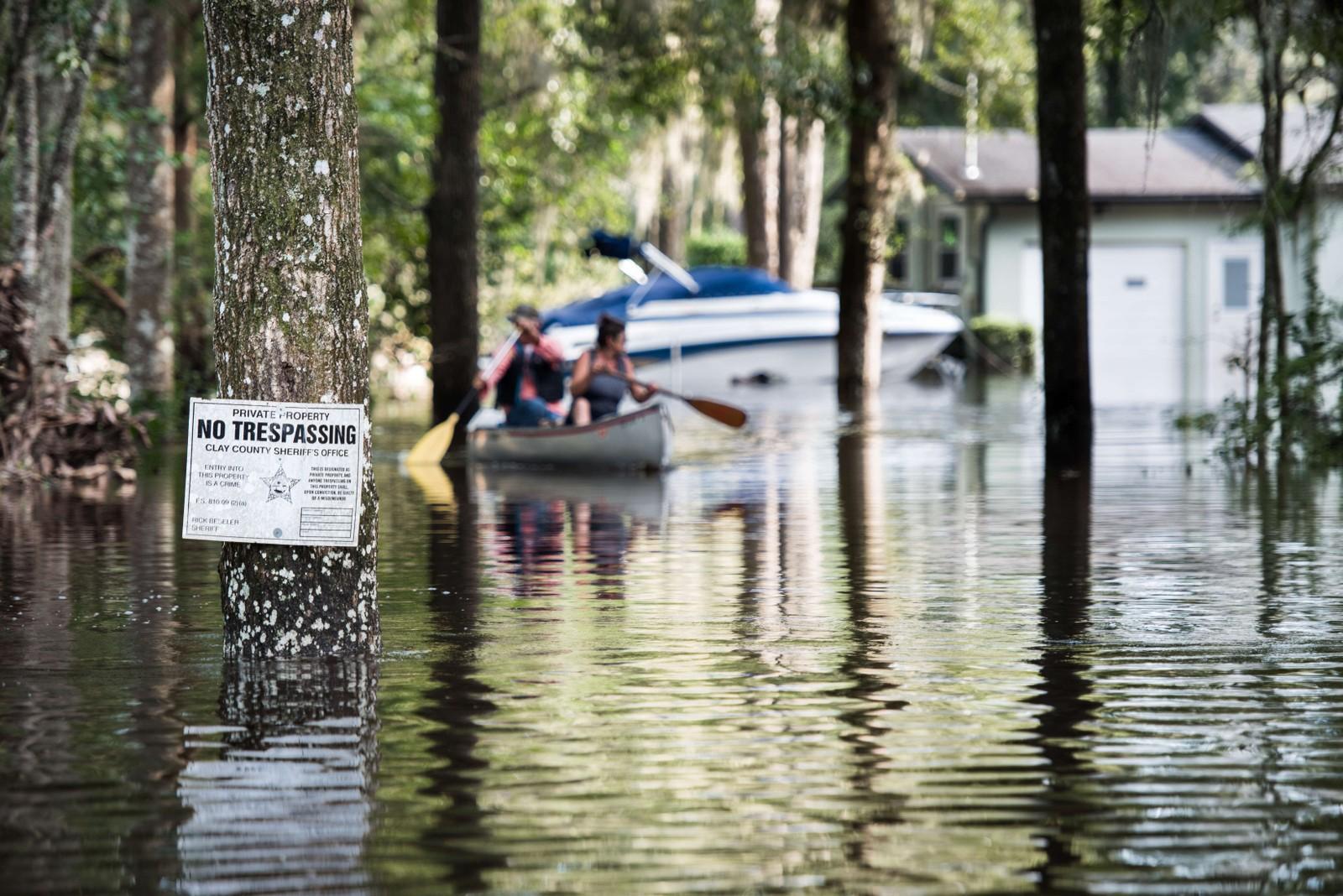 Oversvømmelser i Middleburg i Florida.