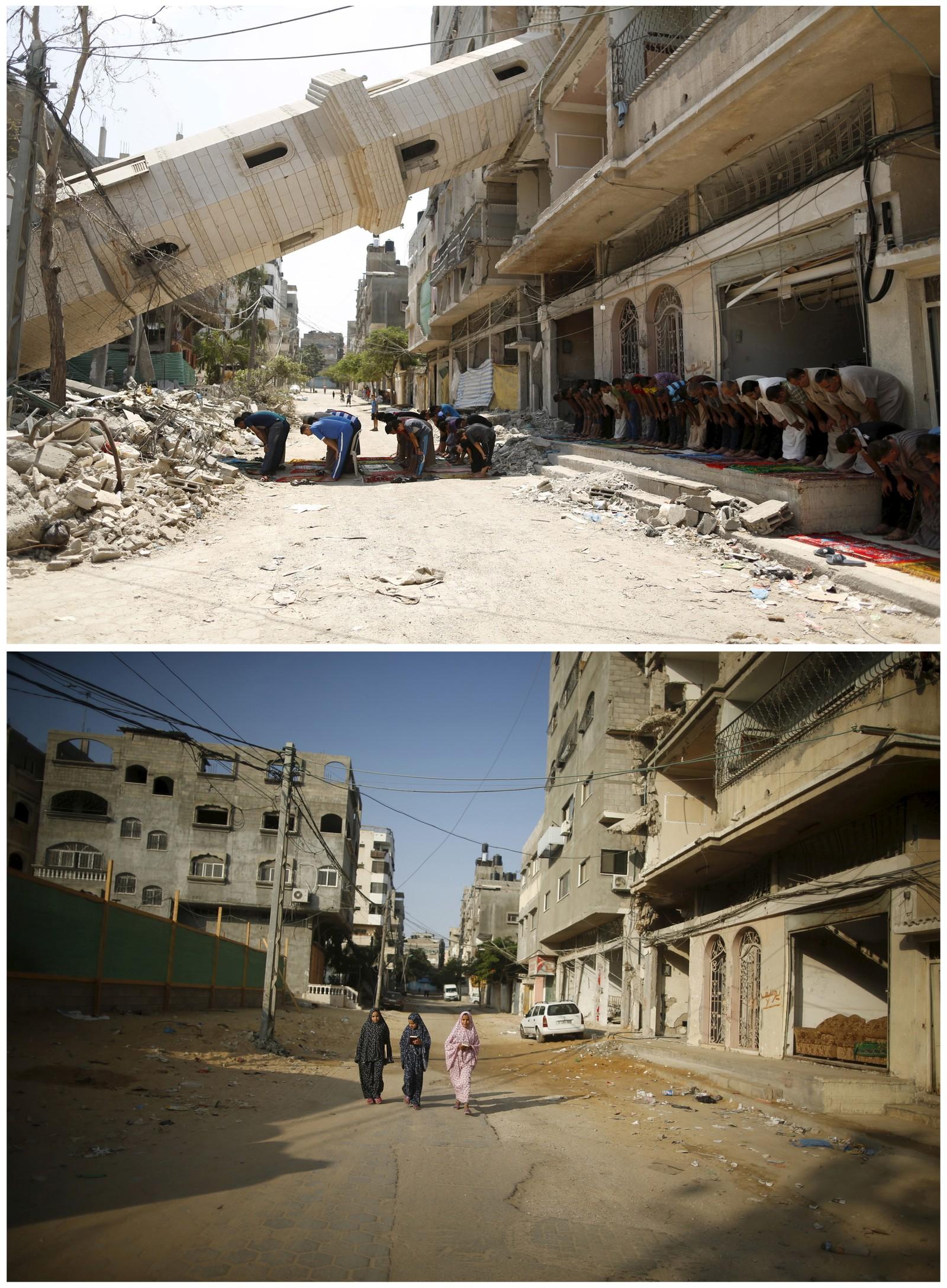 15. august i fjor gikk fredagsbønnen sin vante gang i Gaza by, til tross for at flere moskeer - som denne - var truffet av israelske bomber. Bildet under er fra samme sted og ble tatt 6. juli i år.
