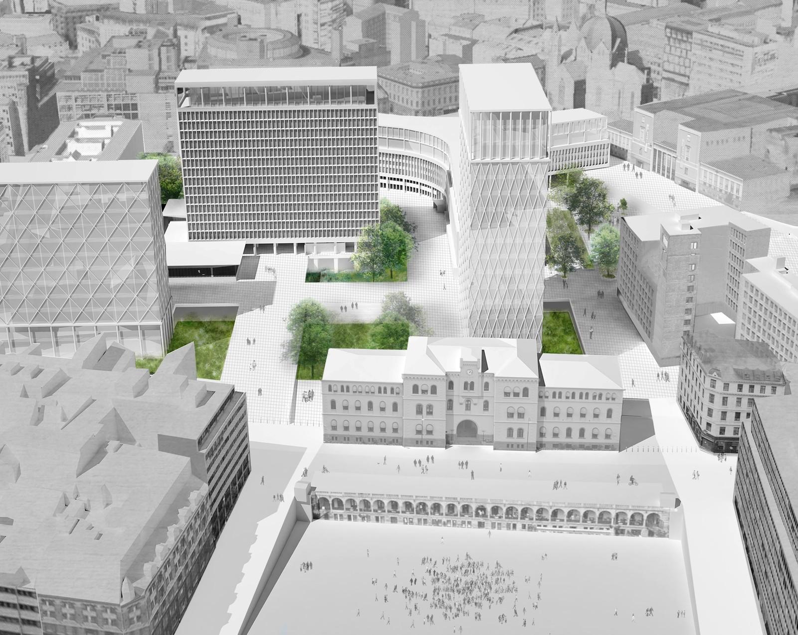 NUMMER 7 - STUDENTENE: Studenter ved Arkitekthøgskolen i Oslo (AHO) har også fått levere sitt forslag. De vil gi dagens såkalte høyblokk selskap av høyere blokker i lignende stil, men bevarer byrommet åpent.
