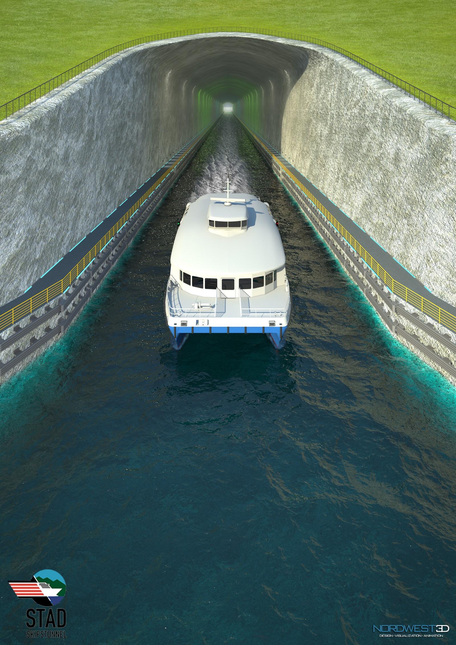 Hurtigbåt kjem ut av Stad skipstunnell (illustrasjon).