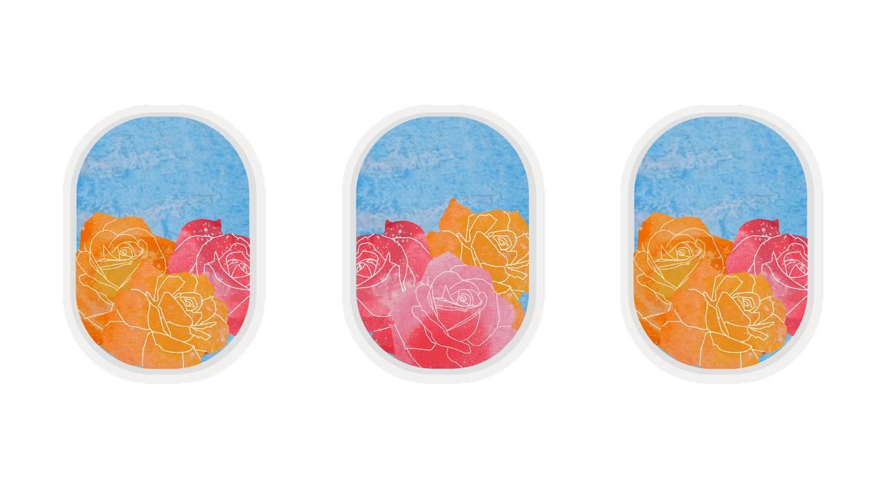 Illustrasjon av roser i et flyvindu.