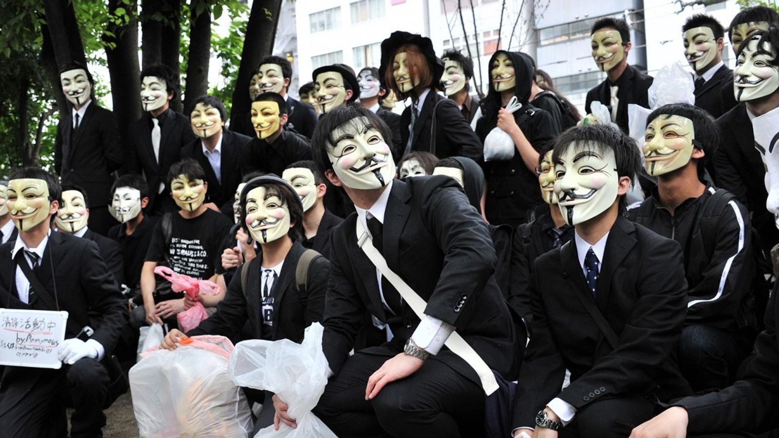 En gruppe av «hacker-aktivister» fra Anonymous-bevegelsen protesterte i Japan i 2012.