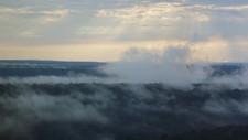 Tåke over Amazonas som tilfører regnskogen nødvendig fuktighet året rundt.