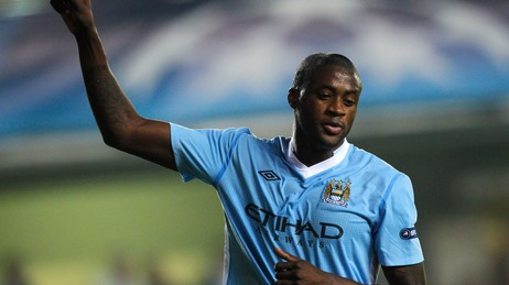 SOCCER-CHAMPIONS/ Manchester City's Yaya Toure celebrates after scoring his team's third goal during their Champions League Group A soccer match against Villarreal at the Madrigal stadium in Villarreal