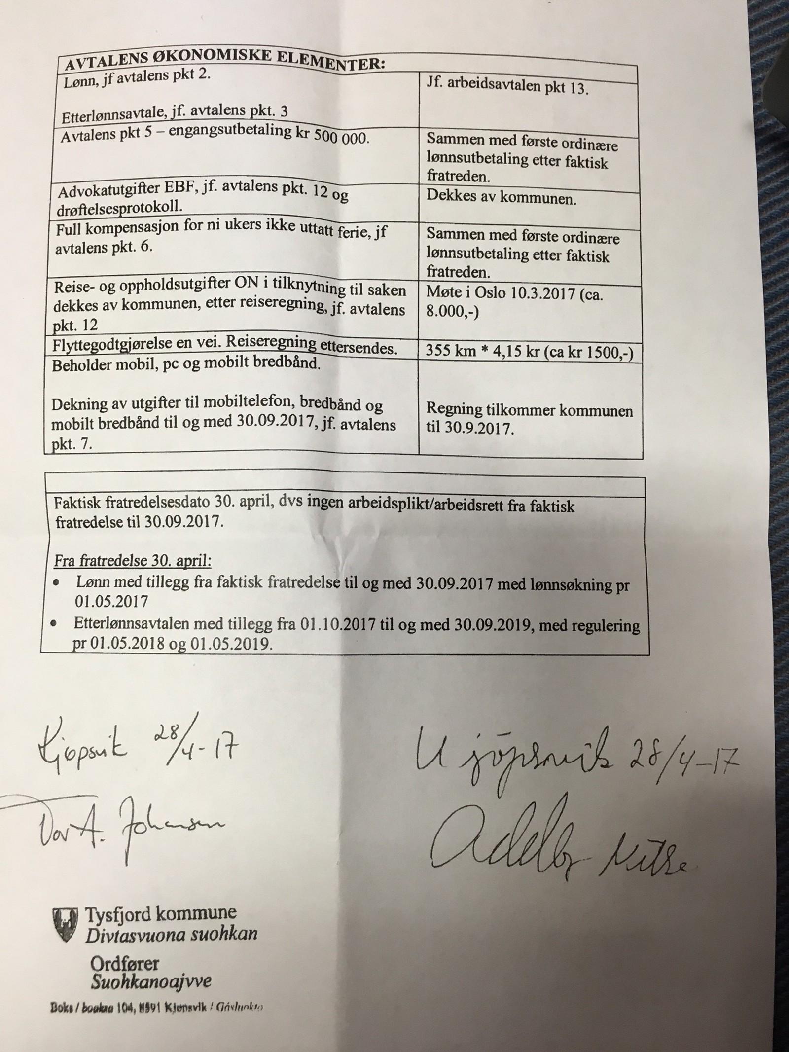 Side fire av avtalen mellom Oddbjørn Nilsen og Tysfjord Kommune, signert 02.05.17.