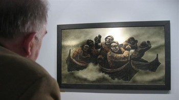 Arthur Arntzen besøker Galleri Espolin i Kabelvåg i Lofoten i anledning kunstnerens 100-års jubileum