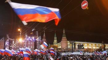 Storfeiring av Putin sin valsiger i Russland