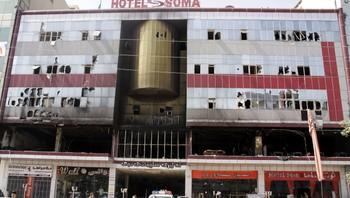 Soma Hotel Sulaymaniya etter brannen.