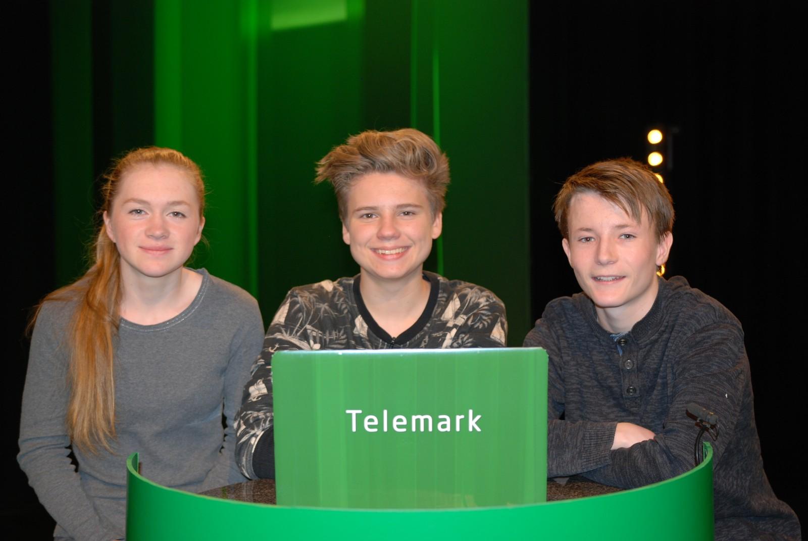 TELEMARK: Drangedal skole her representert ved Lars Brian Flaten, Markus Sannes og Maren Dorthea Bastnes.