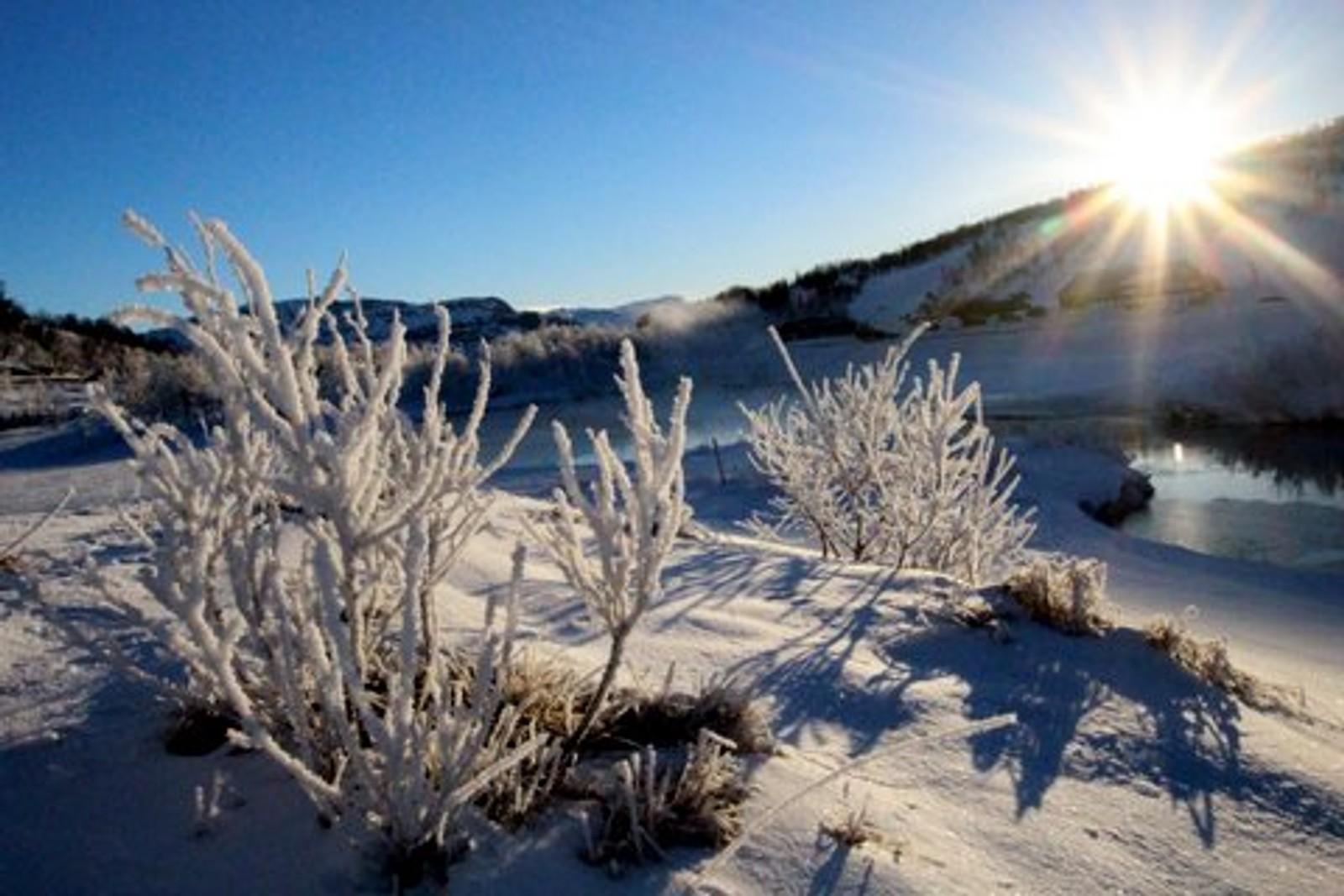 Påskemorgon på Filefjell på påskedag. Minus 12 grader før sola kom fram.