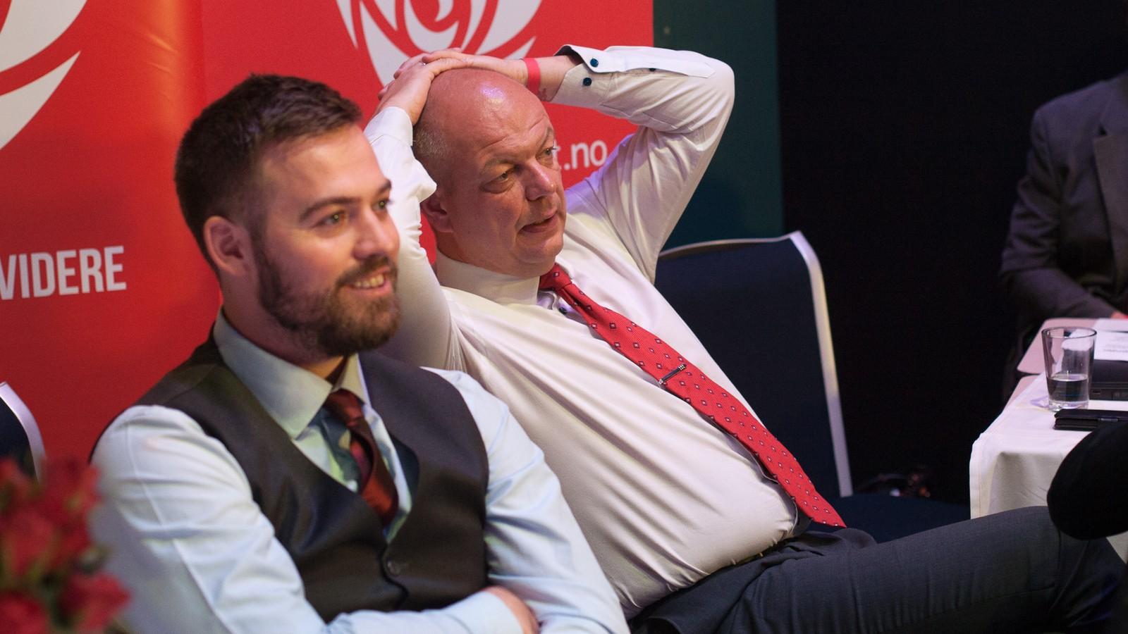 Torbjørn Vereide og Hilmar Høl frå Abeidarpartiet.