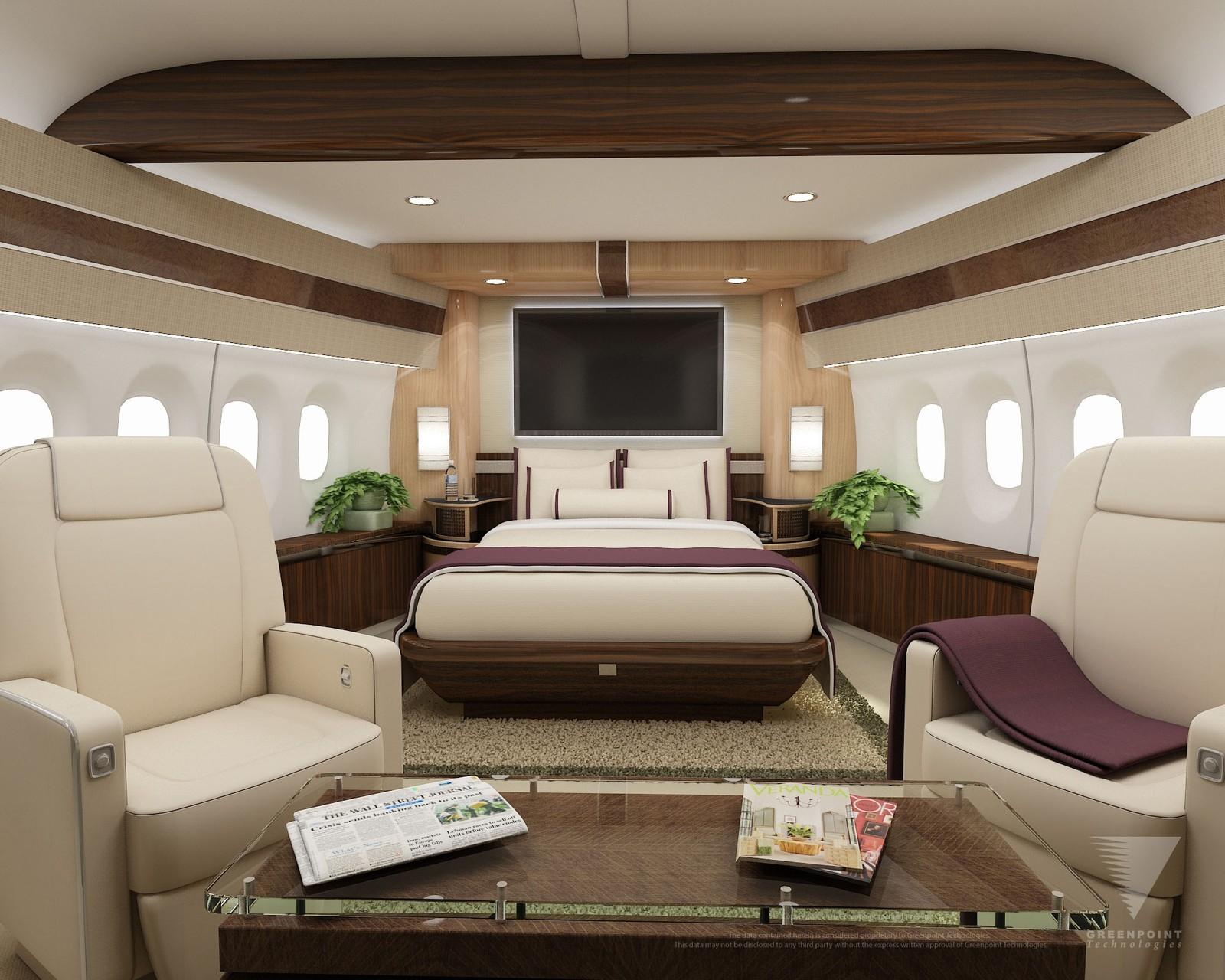 Soverom ombord. Slik fremstilles mulighetene for lususinteriør i flytypen i konseptskisser fra Boeing.
