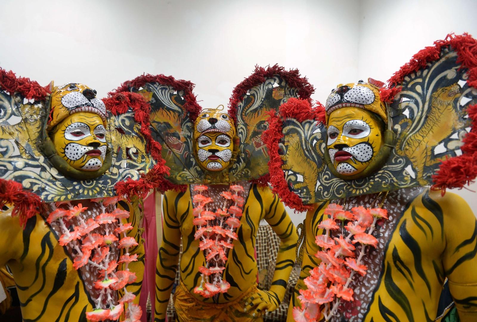 Tiger-dansing på den internasjonale tigerdagen i Kolkata, India.