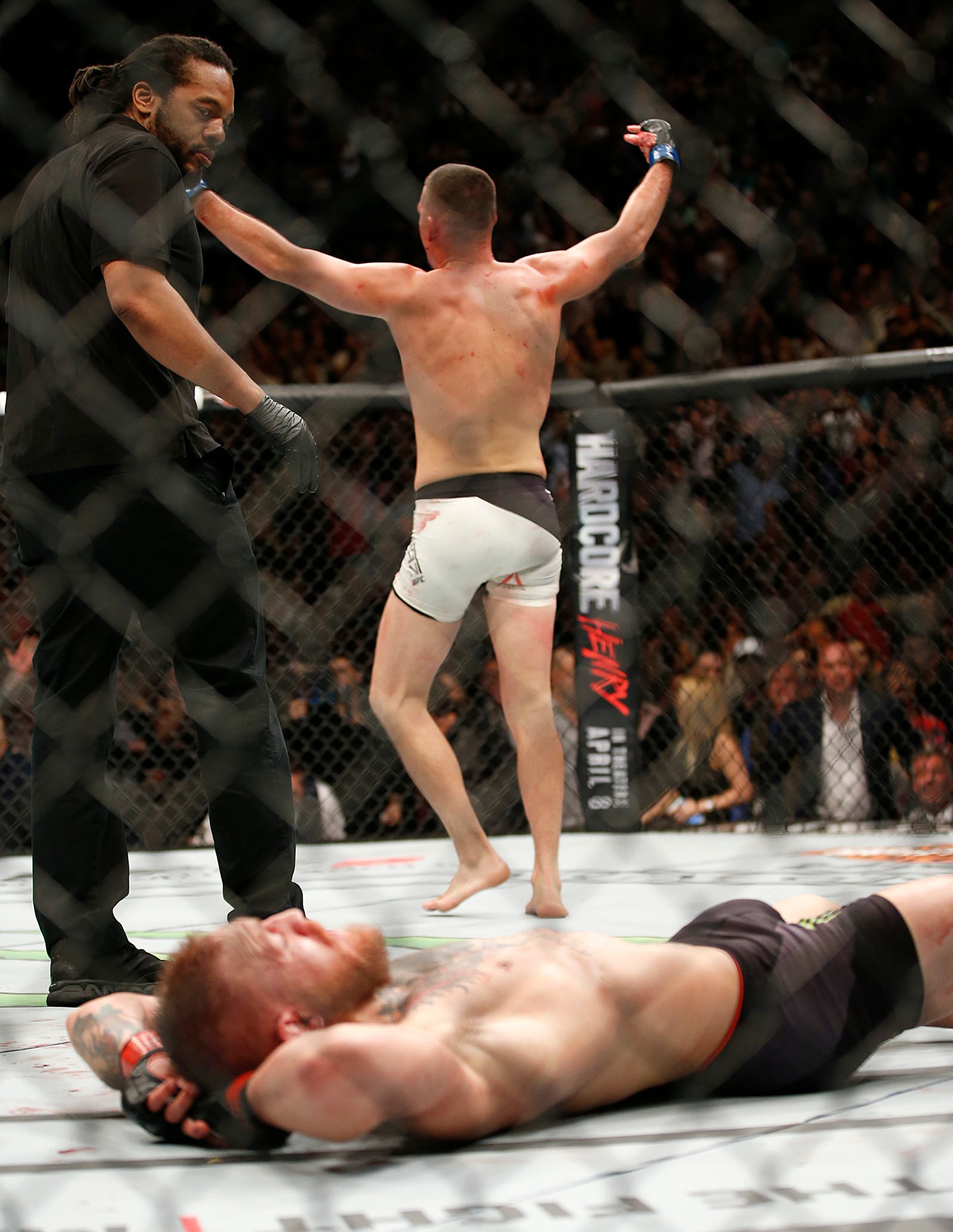 UFC 196 Mixed Martial Arts Nate Diaz, Conor McGregor Nate Diaz celebrates his second round victory over Conor McGregor during their UFC 196 welterweight mixed martial arts match Saturday, March 5, 2016, in Las Vegas. (AP Photo/Eric Jamison) Nate Diaz, Conor McGregor